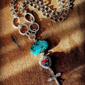 Turquoise/sterling crucifix necklace